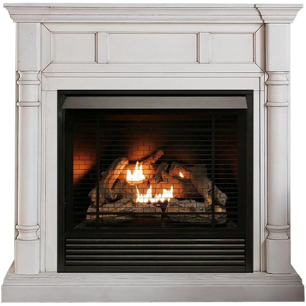 Duluth Forge 32 000 Btu Ventless Dual Fuel Fireplace White Wood