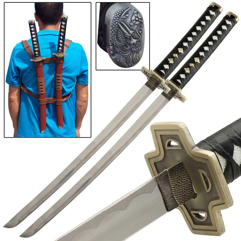 Deadpool anime japanese double katana sword set katana