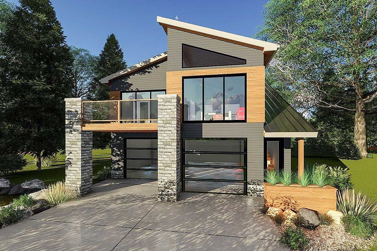Tiny in size but big on looks this contemporary house plan has an ultra modern facade all the living space is up on the second floor where the open layout