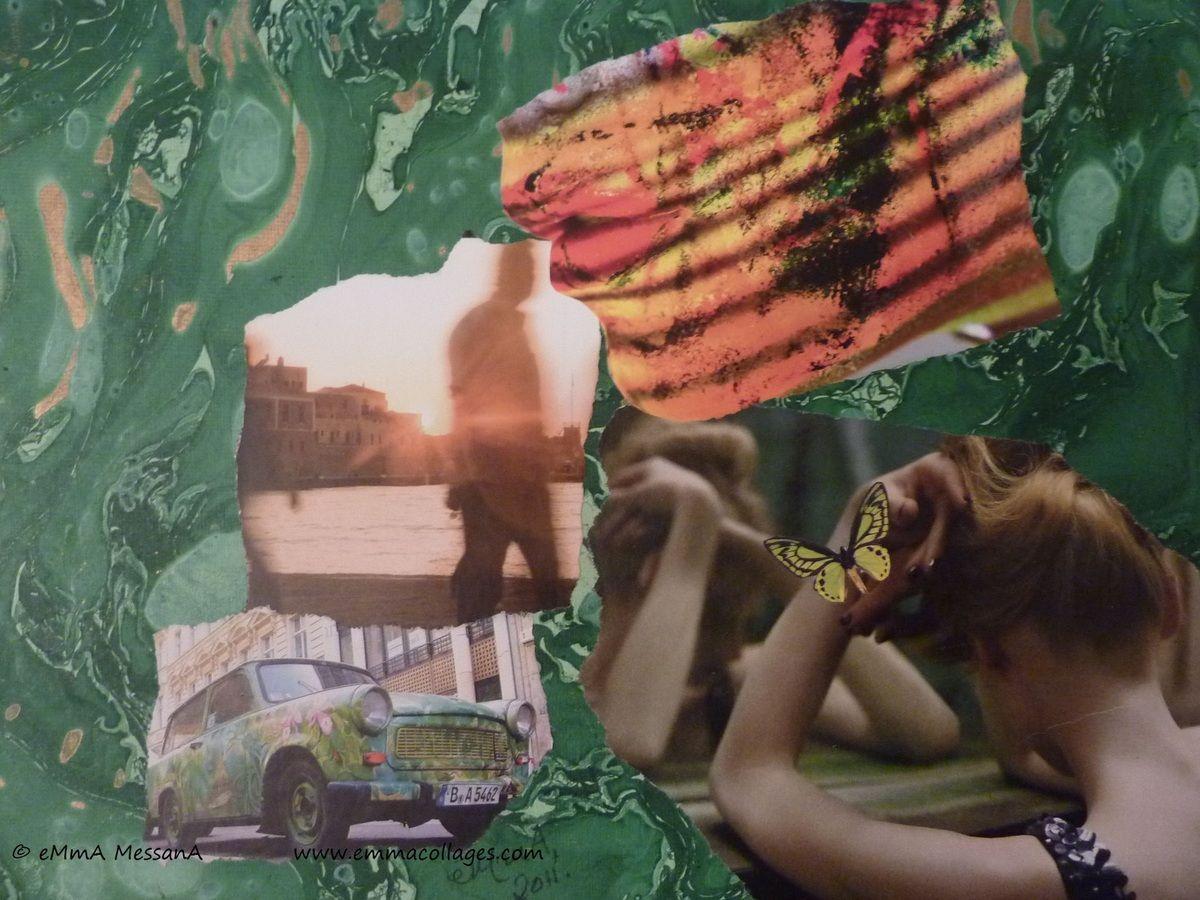 """© eMmAcollages Paris XIème, février 2011, N°162 """"Le Rêve de la Muse"""" Collage sur papier indien 24 X 32cm Ce N°162 n'est pas disponible. Vit à Nîmes Je soutiens APRES SCHOOL à Pondichéry (Inde) 5% du produit de la vente de mes collages sont versés à APRES..."""