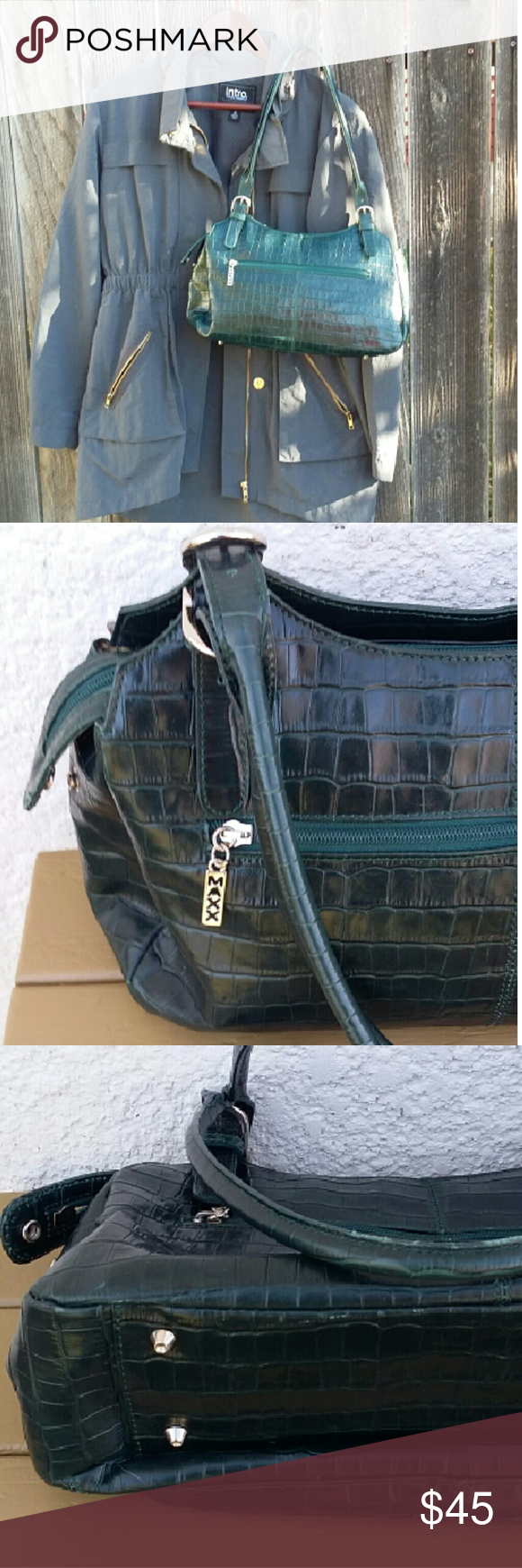 Pg 2. Lg MAXX NY green leather bag in exc cond Excellent condition inside and out. Lots of bells and whistles. MAXX NY is a major handbag manufacturer.   Add this lovely dark green leather bag to your handbag collection today. Bags