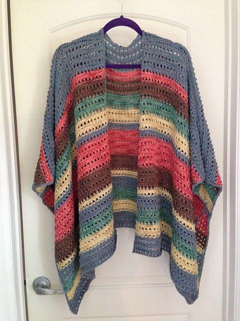 Ravelry: cjervey\'s Tunisian Spring Ruana | Crochet Ruana/Kimono ...