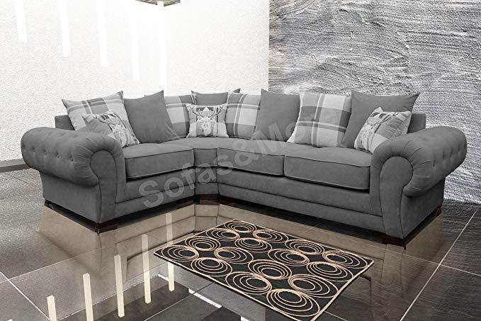Corner Sofa Verona Fabric Left Or Right Grey Brown Cream Designer Scatter Cushions Living Room Furniture Left Grey Amazon Co Uk Desighner Sofas Corne