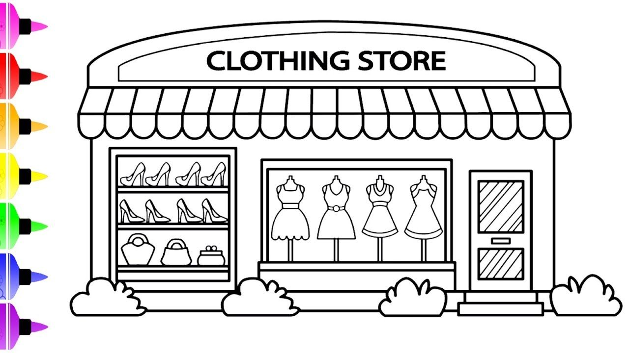 How To Draw Clothing Store For Kids Coloring Page For Kids With Colored Marker