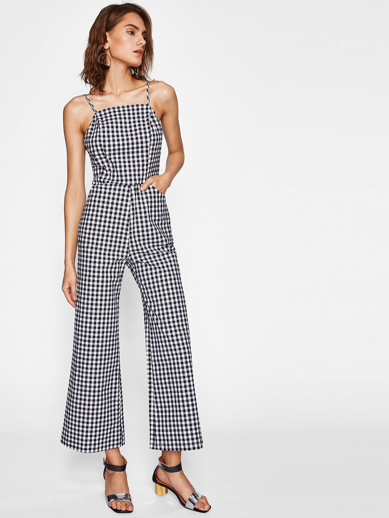 Black And White Checkered Cami Straps Sleeveless Shirred Back Gingham  Jumpsuit