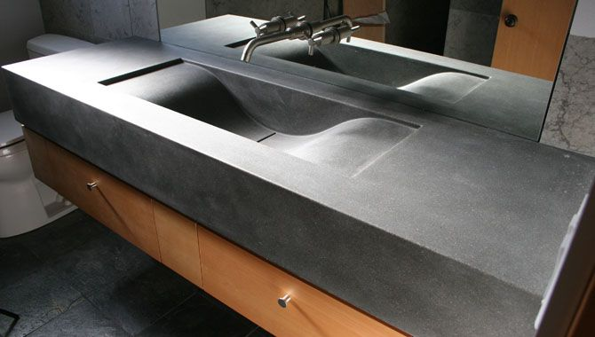 Concrete Wave Sinks in the Bath Room, Bathroom Vanities, Concrete Counter Wave Sinks, Bath Decor, See Photos