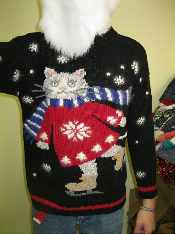 famous walmart commerical skating cat sweater hysterical vintage granddaddy of all tacky ugly christmas sweaters sz medium mens womens - Christmas Sweaters Walmart