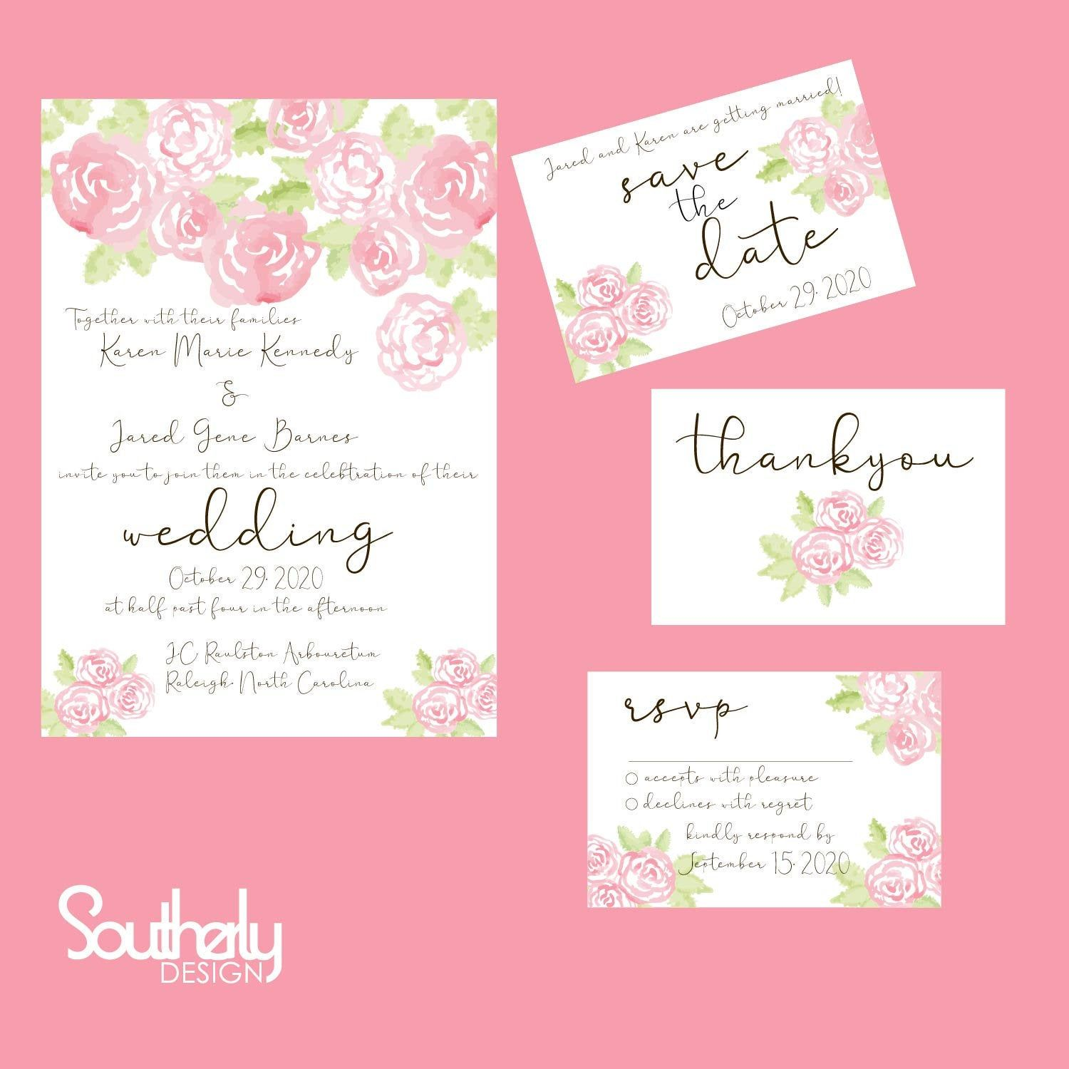 This is a photo of Printable Invitations Kits intended for floral