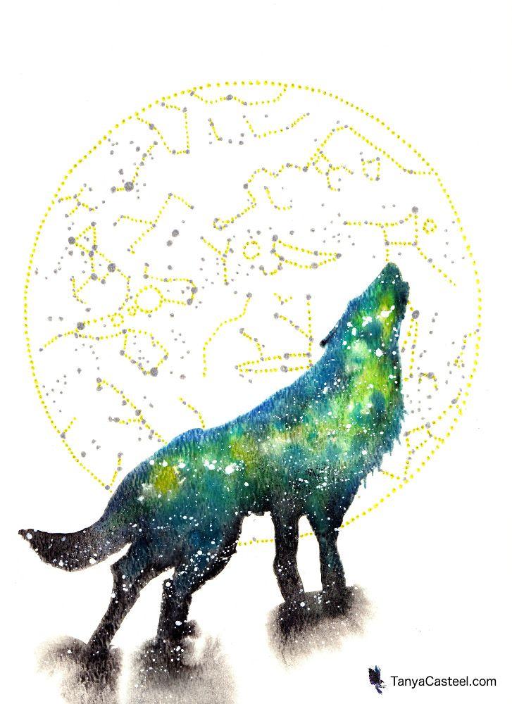 Wolf Spirit Animal Galaxy Painting And Symbolism Cosmic Animal
