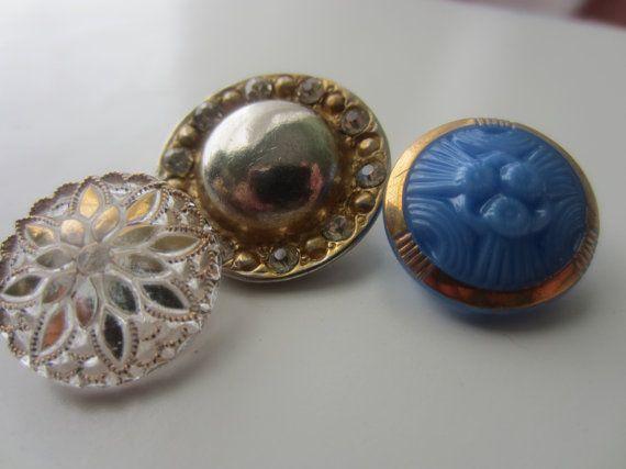 Vintage Buttons Czech Glass beautiful trio of by pillowtalkswf, $6.75