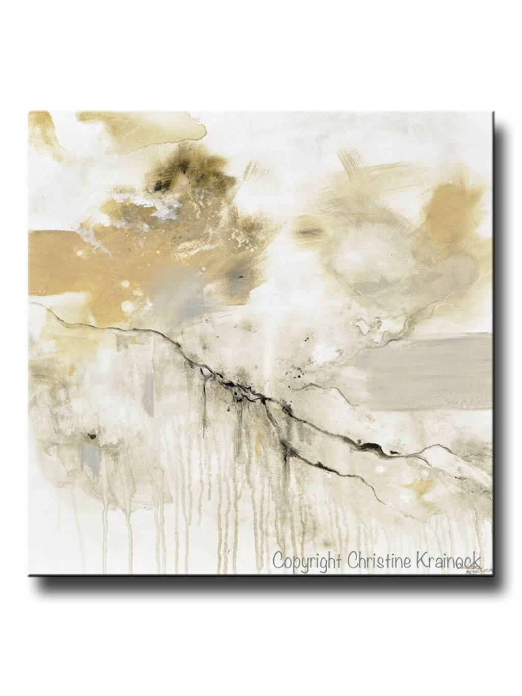 Original Art Abstract Grey White Painting Coastal Modern Neutral Beige Taupe Gold Wall Art Decor 30x30 Gold Wall Art Abstract Art Painting Abstract