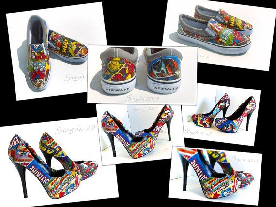 f35146252bba1d Marvel Comic Book-Mens Slip Ons-Womens heels-party pumps-Hulk-Xmen-Captain  America-Iron Man-Spiderman-his and her-wedding shoes-geek wedding