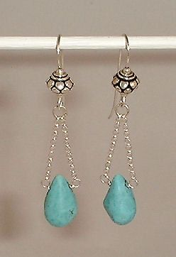 Turquoise Drop Dangle Earrings by AdornmentsAndFrills on Etsy