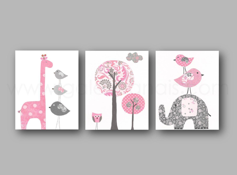 Elephant nursery art giraffe nursery wall art Baby Girl Nursery ...
