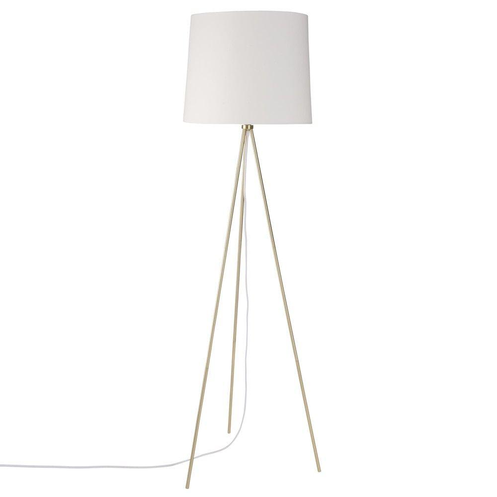 Lampadaire Trepied En Metal Dore Abat Jour En Coton Blanc Maisons Du Monde Stehlampe Lampe Lampenschirm
