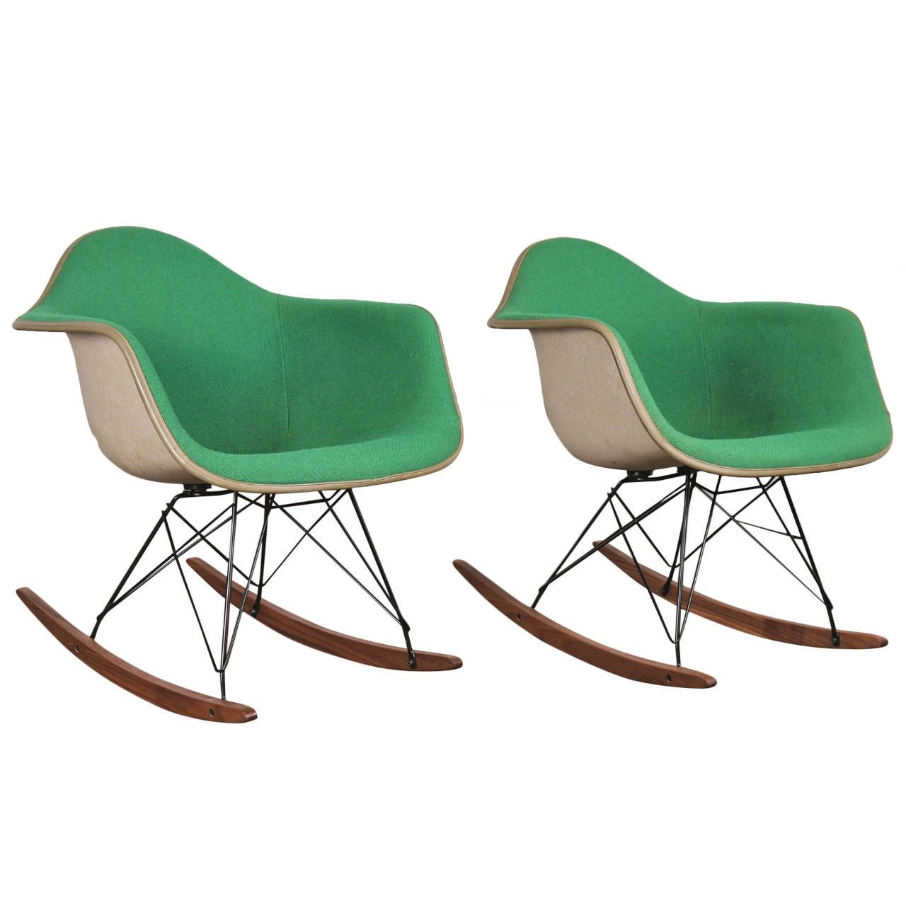 Upholstered Rocking Chair Vintage Green Eames Upholstered Rocking Chair One Left