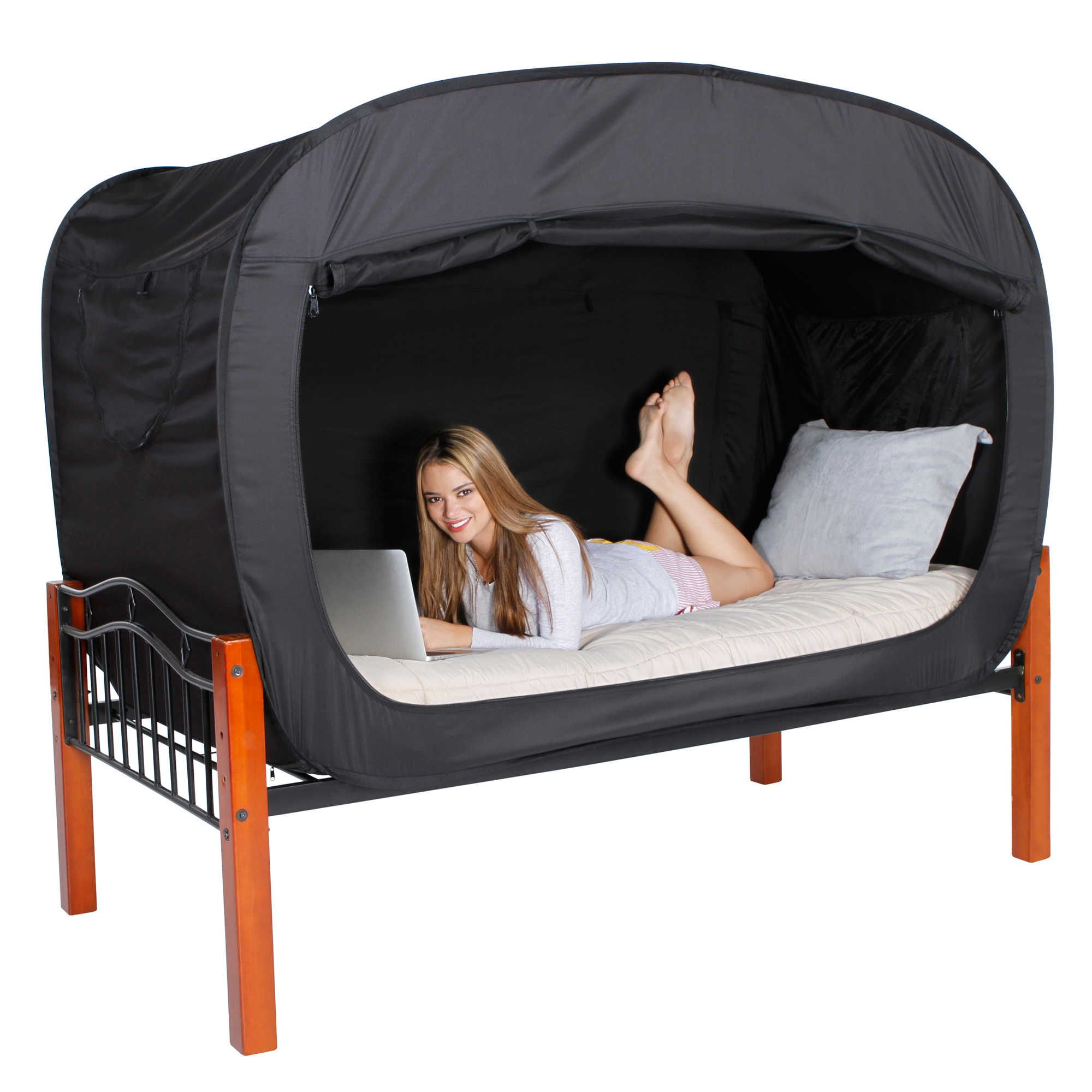 Privacy Pop Twin Bed Tent in Black Bed tent, College