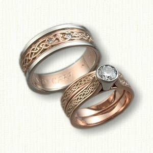 14kt Rose Gold Celtic Glasgow Knot Wedding Engagement Ring Set Celtic Wedding Bands Wedding Rings Celtic Wedding Rings