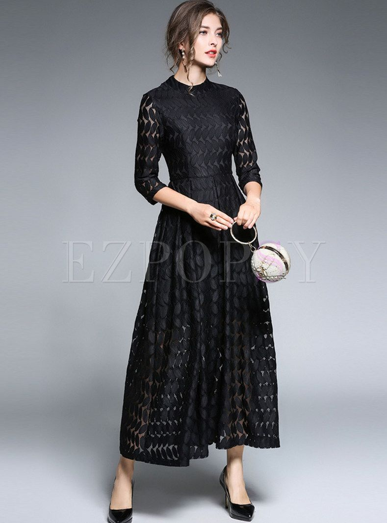 ec32622daf0f Shop for high quality Brief Black Lace Stand Collar Three Quarters Sleeve  Maxi Dress online at cheap prices and discover fashion at Ezpopsy.com
