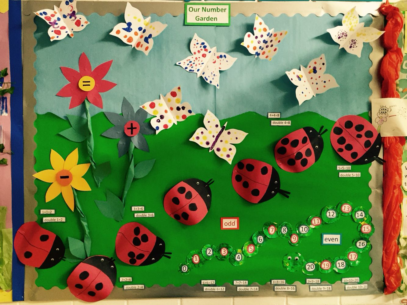 Early years maths display. Symmetry, odd & even numbers and doubling ...