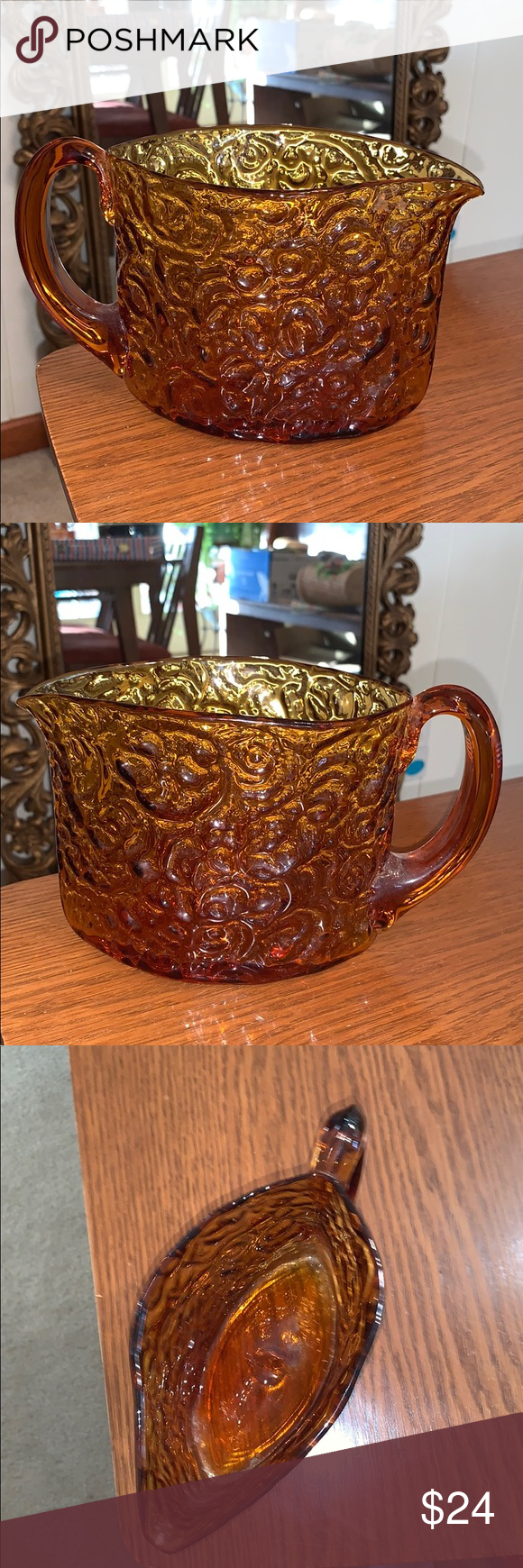 Vintage amber colored heavy glass pitcher Vintage amber swirl design heavy glass  Vintage amber colored heavy glass pitcher Vintage amber swirl design heavy glass pitcher...