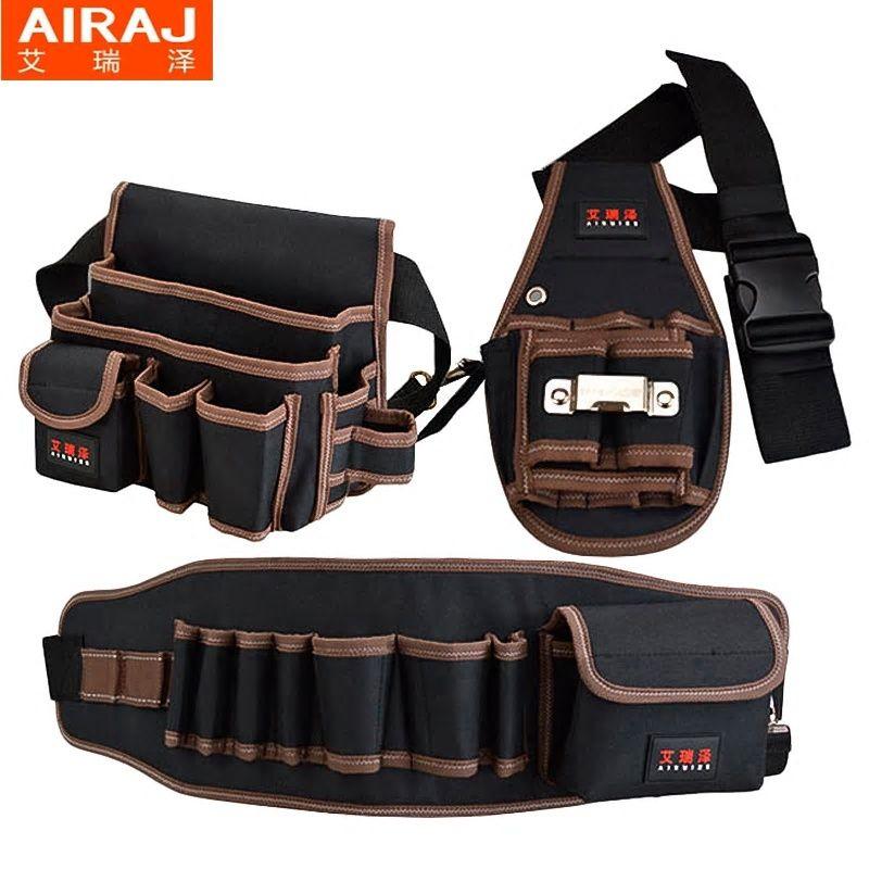 64bd2d795107 AIRAJ Tool Bag with Tool Belt Professional Electrician's Tool Waist ...