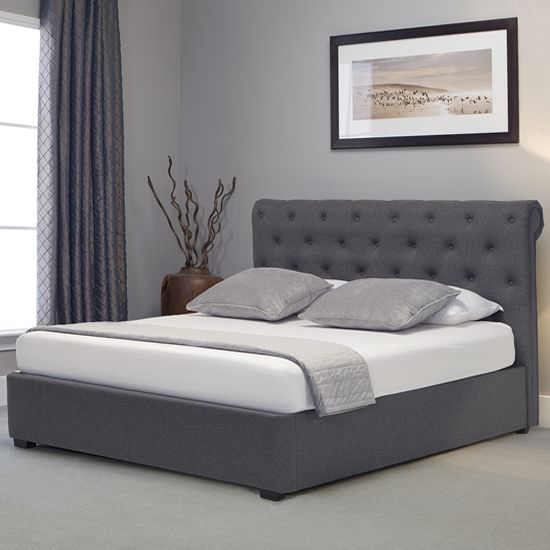 Versatile Ottoman Storage Bed In Grey Linen Fabric Finish