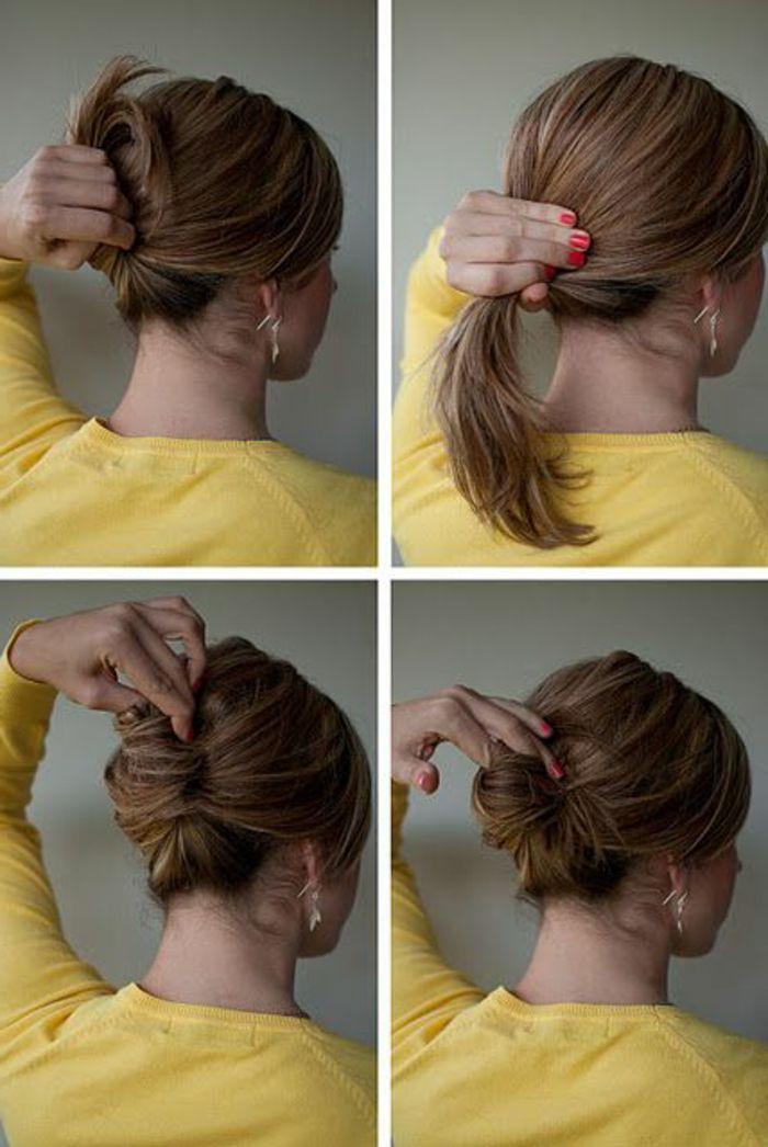 Realiser un chignon sur cheveux mi long