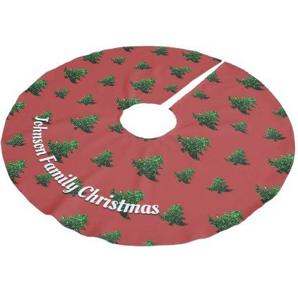 Customize Christmas tree green sparkles pattern Brushed Polyester