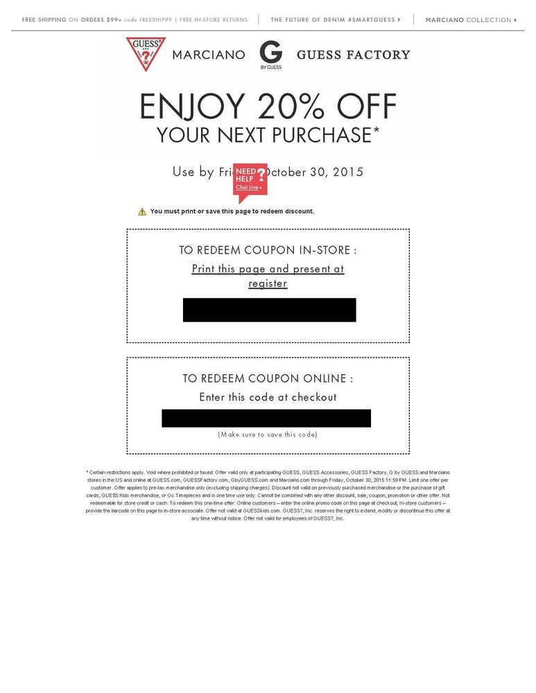 20 Off Coupon Code For Guess Factory Accessories G By Marciano In Store Online Clothing Coupons Coupons Coding