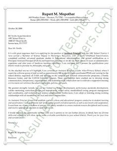 Assistant Principal S Cover Letter Example School Cover