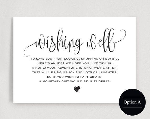 Monetary Wedding Gift Wording: Wishing Well Card, Wedding Wishing Well, Wishing Well