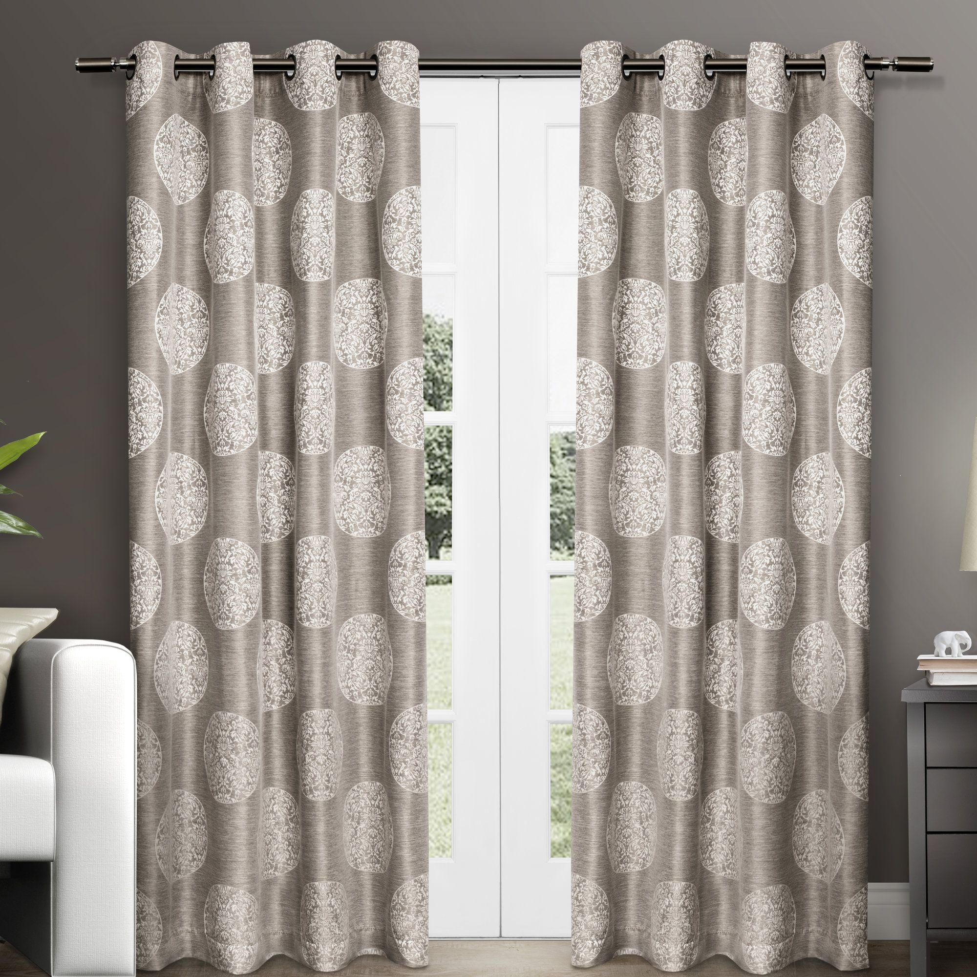 Ginny Medallion Grommet Curtain Panel Pair