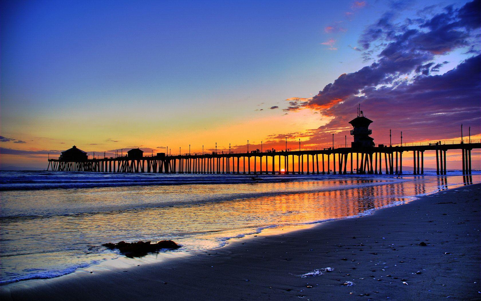 Wallpaper Ocean Sunset Usa California Evening Jetty Los Angeles Pier Huntington Beach At