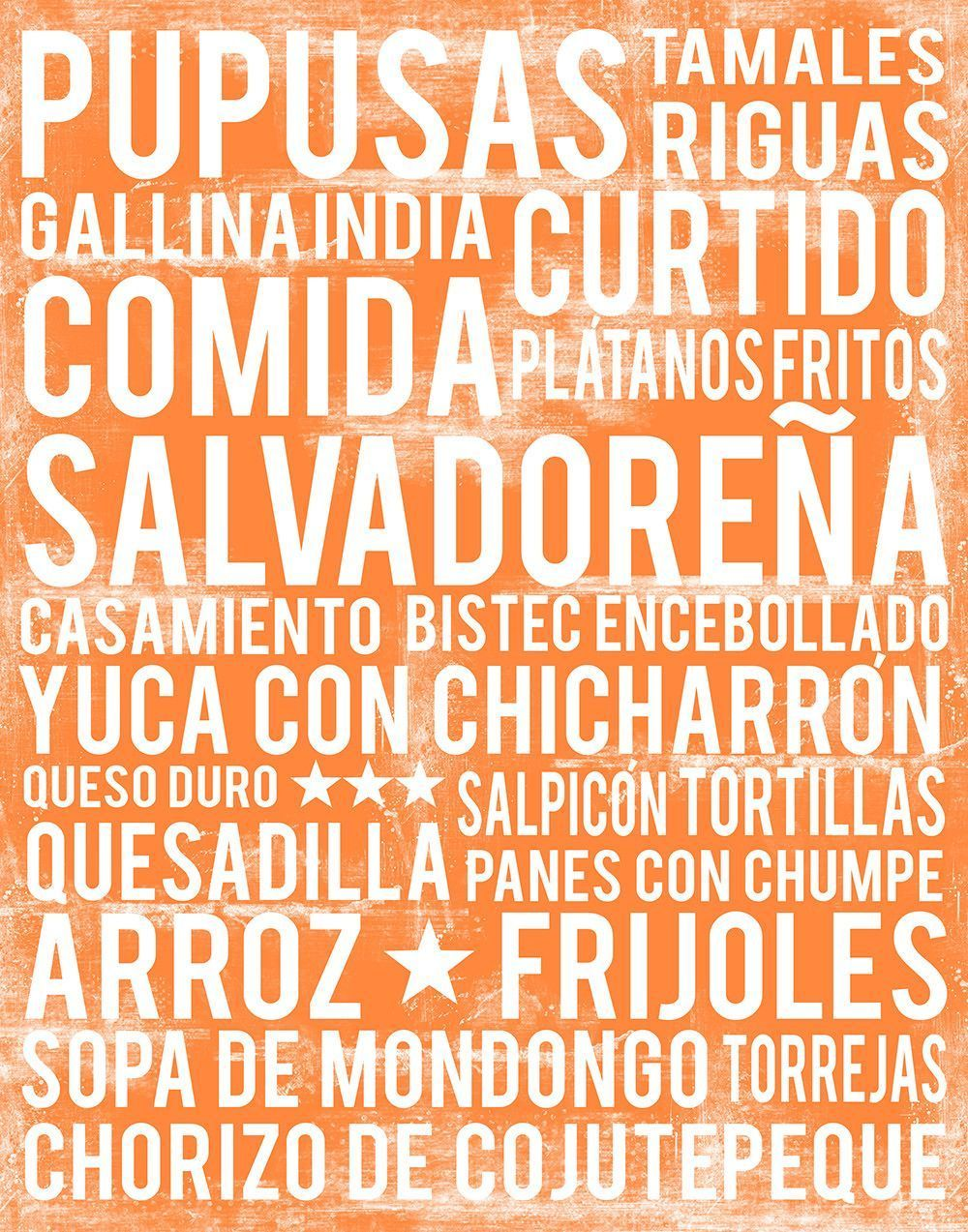 El Salvador Kitchen Wall Art - El Salvador Food Print - El Salvador Word Art #elsalvadorfood El Salvador Food Subway Art Print - Poster #elsalvadorfood