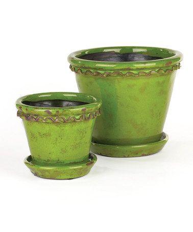 Love this Green Vintage Pot & Saucer Set on #zulily! #zulilyfinds