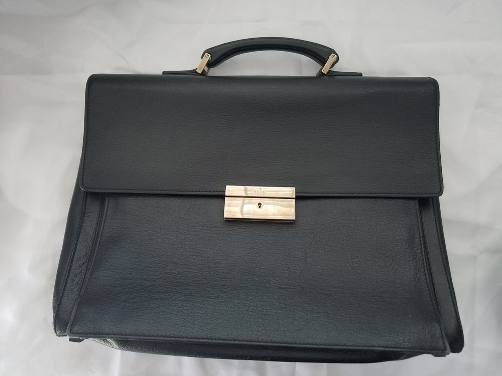 4e3914bfa Authentic GUCCI Leather Briefcase Attache Bag | Black #fashion #clothing  #shoes #accessories