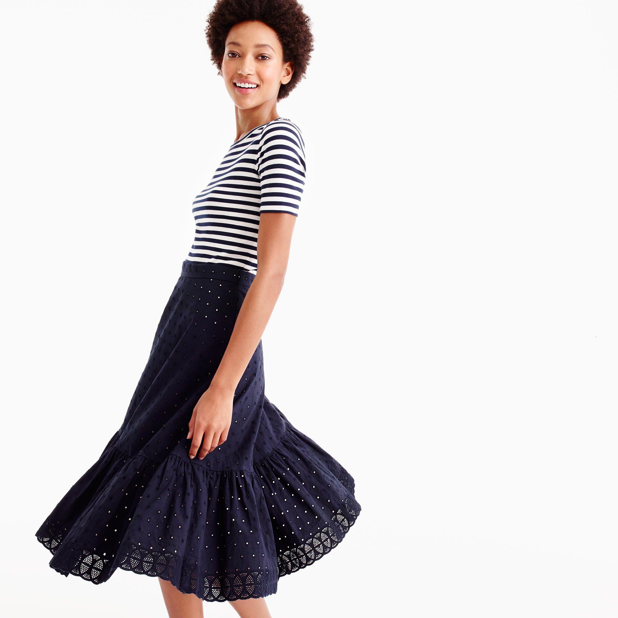 Tiered midi skirt in eyelet poplin : Women A-line/Midi