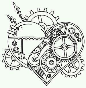 steampunk gears coloring pages - cuck oo clock heart desenhos pinterest engrenagem