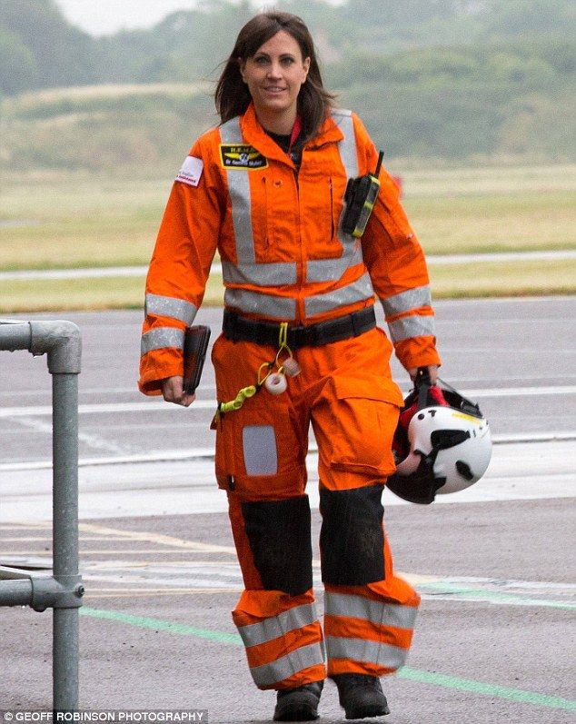 Geared up and ready to go: The glamorous Dr Mullenpreviously flew on the London Air Ambulance