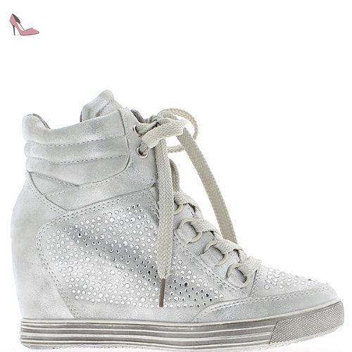 54728b996f98f Baskets compensées montantes silver avec strass à talon de 7,5cm - 41 -  Chaussures