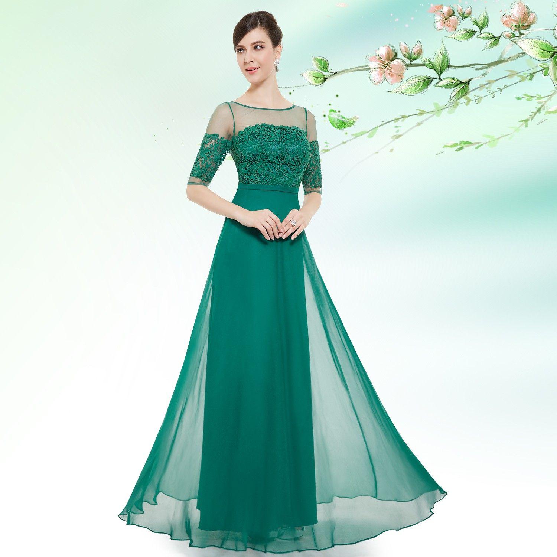 halbarm traum kleid grün   abendkleid mit ärmeln, abendkleid