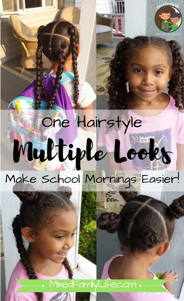 One Hairstyle Multiple Looks 4 Hair Sections By Mixed Family Life Kids Hairstyles Girls Mixed Kids Hairstyles Kids Curly Hairstyles
