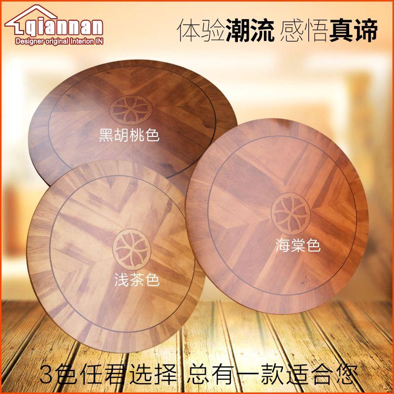 Decorative Pattern Solid Oak Wood Turntable Bearing Lazy Susan