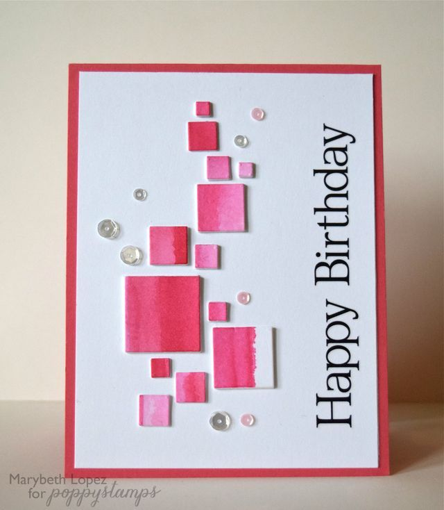 Handcrafted birthday card mod watercolor squares luv the handcrafted birthday card mod watercolor squares luv the geometric design bookmarktalkfo Images