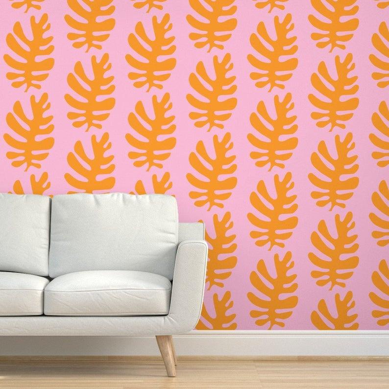 Tropical Wallpaper Leaf Orange Blush By Pattyryboltdesigns Etsy Tropical Wallpaper Orange Blush Textured Walls