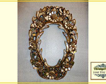 espejo mosaico dorado pared mosaico espejos regalo boda original marco de espejo negro