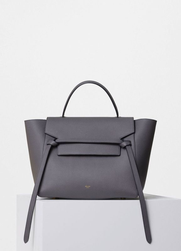 Mini Belt Handbag in Grey Grained Calfskin - Céline  ffd28ca784359