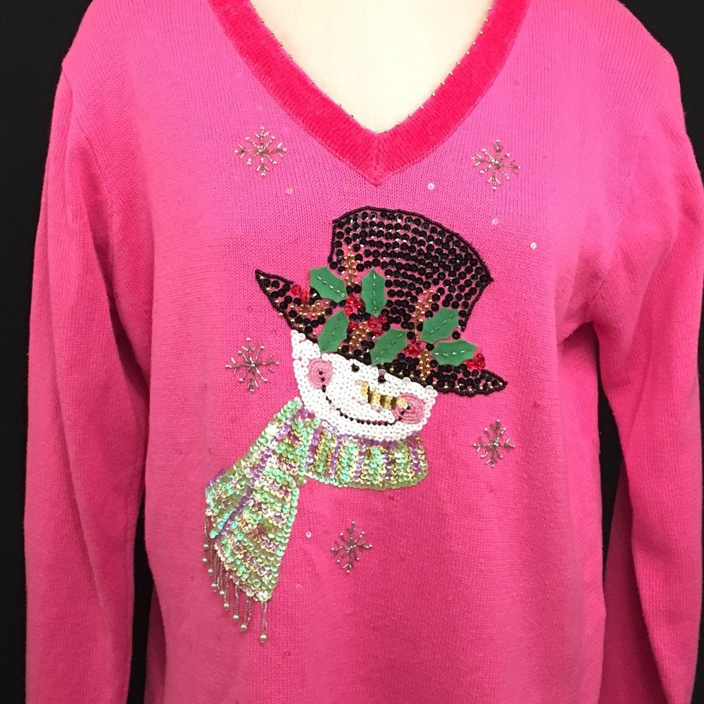 Christmas Sweater Quacker Factory Size L Pink Snowman Beaded Sequin