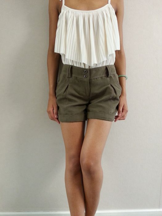 479ac72495 Short à pince tissu façon daim Promod, marron kaki   Short et jupe ...